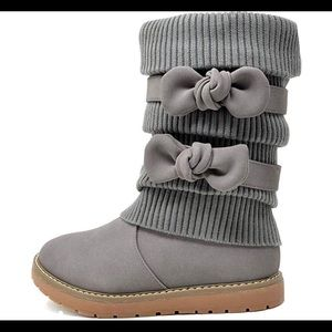 0525 Girl's Winter Snow Boots Faux Fur Lined Mid